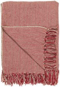 Bilde av Pledd creme/røde smale striper