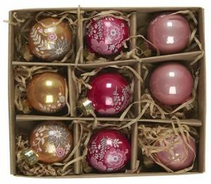 Bilde av Sett med 9 julekuler, 3ass farger