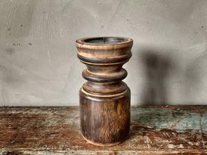 Bilde av Lysestake i tre for kubbelys 10x20 cm brun
