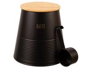 Bilde av Boks Kaffe sort metall m/skje/bambuslokk